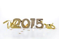 Figuras douradas ano novo 2015 Fotos de Stock Royalty Free