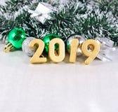 figuras douradas de 2019 anos Fotografia de Stock Royalty Free