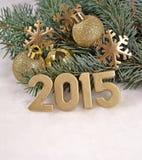figuras douradas de 2015 anos Imagens de Stock Royalty Free