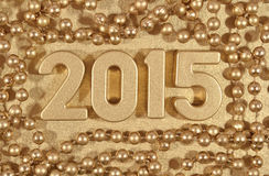 figuras douradas de 2015 anos Fotografia de Stock Royalty Free