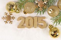 figuras douradas de 2015 anos Fotos de Stock Royalty Free