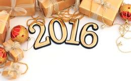 figuras douradas de 2016 anos Fotografia de Stock Royalty Free