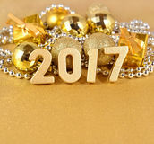 figuras douradas de 2017 anos Fotografia de Stock Royalty Free