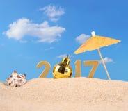figuras douradas de 2017 anos com concha do mar Fotografia de Stock Royalty Free