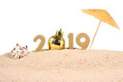 figuras douradas de 2019 anos com concha do mar em um branco Fotografia de Stock