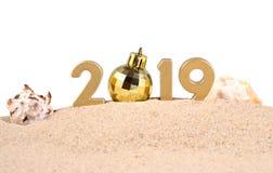figuras douradas de 2019 anos com conchas do mar em um branco Foto de Stock Royalty Free