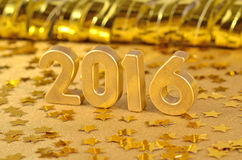 figuras douradas de 2016 anos e de estrelas douradas Foto de Stock Royalty Free