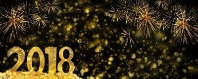 2018 figuras douradas em fogos-de-artifício Imagem de Stock Royalty Free