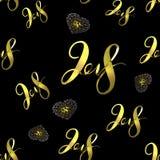 Figuras douradas novas do número da rotulação de 2018 anos isoladas no fundo sem emenda preto do teste padrão ilustração 3D Fotos de Stock Royalty Free