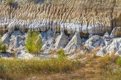 Figuras estranhas cinzeladas em areias da argila Foto de Stock