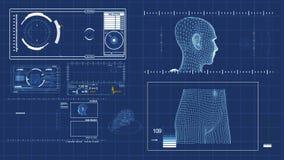 Figuras futuristas de HUD y del humanoid almacen de metraje de vídeo