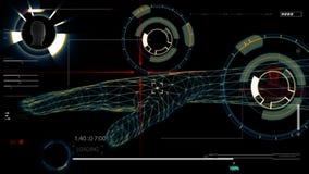 Figuras futuristas del interfaz y del humanoid metrajes