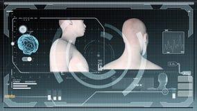 Figuras futuristas del interfaz y del humanoid almacen de metraje de vídeo