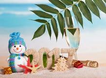 Figuras 2017 garrafa do champanhe, vidro, boneco de neve, folha, estrela do mar contra o mar Imagem de Stock Royalty Free