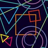 Figuras geométricas abstractas en fondo azul marino tex inconsútil Imagen de archivo