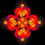 Figuras geométricas brilhantes coloridas do tracery em um backgroun preto ilustração royalty free