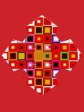 Figuras geométricas coloreadas en un fondo rojo brillante Imagen de archivo