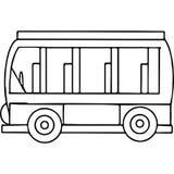 Figuras geométricas do ônibus de Schoool que colorem a página Foto de Stock Royalty Free
