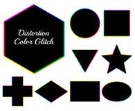 Figuras geométricas oscuras con interferencia del color de la distorsión Sistema de vect ilustración del vector
