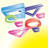 Figuras geométricas que vuelan Imagen de archivo libre de regalías
