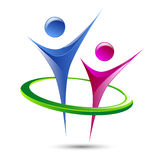 Figuras humanas abstractas plantilla del logotipo del vector Imagen de archivo libre de regalías