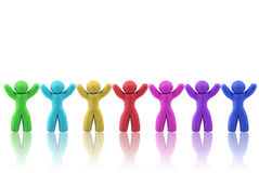 Figuras humanas del Plasticine multicolor en una fila Imagen de archivo