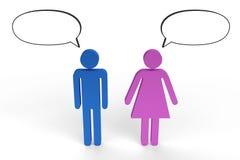 Figuras masculinas e fêmeas que têm uma conversação Imagens de Stock