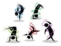 Figuras minimalistas da dança de ruptura Imagem de Stock Royalty Free