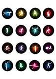 Figuras olímpicas de los deportes Imágenes de archivo libres de regalías