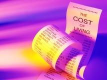 Figuras para el coste de correr las finanzas caseras en un listado de papel Fotos de archivo