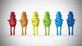 Figuras plásticas coloreadas juguetes de los trabajadores ilustración del vector