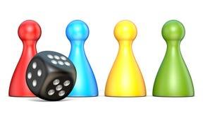 Figuras plásticas y un dado negro 3D del juego ilustración del vector
