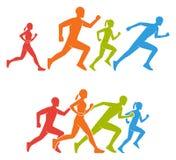 Figuras planas marathoner Siluetas coloreadas del corredor Fotos de archivo libres de regalías