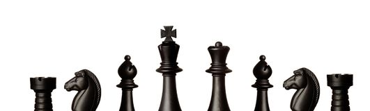 Figuras pretas da xadrez Foto de Stock Royalty Free