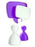 Figuras simbólicas humanas com bolhas do texto Fotografia de Stock