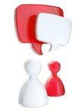 Figuras simbólicas humanas com bolhas do texto Fotografia de Stock Royalty Free