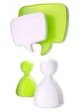 Figuras simbólicas humanas com bolhas do texto Foto de Stock