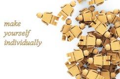 Figuras simples dos povos, o conceito da individualidade rende 3D Foto de Stock Royalty Free