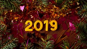 Figuras 2019 sob uma camada de sparkles e de ouropel que são fundidos ausente pelo vento e por uma inscrição aparecem do