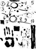 Figuras, venta, handprint bosquejo negro Cartel de la vendimia Foto de archivo libre de regalías