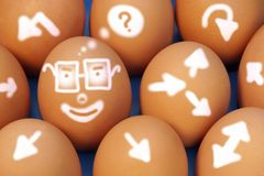 Figurative, Creative Thinking and Comical Development Roads. On natural Eggs. Concept and Idea for business Royalty Free Stock Photo