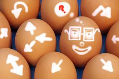 Figurative, Creative Thinking and Comical Development Roads. On natural Eggs. Concept and Idea for business Royalty Free Stock Images