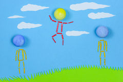 Figurative people standing on grass against blue sky. Royalty Free Stock Photo