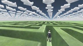 Figure à l'intérieur de labyrinthe avec des nuages de flèche Images stock