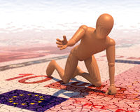 Figure, équipez prier pour la boisson dans sec vers le haut de l'euro désert Photos libres de droits