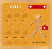 Figure 2011 de plâtre de collage de calendrier Images stock