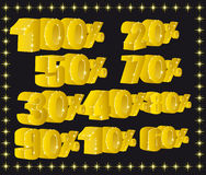 Figure. Gold figures with percent for various application Stock Images