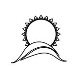 Figure abstract sun with mountain icon Stock Photo