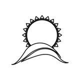 Figure abstract sun with mountain icon. Illustraction design Stock Photo
