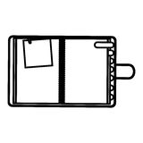 Figure agenda with tabs and paper note icon Royalty Free Stock Photo